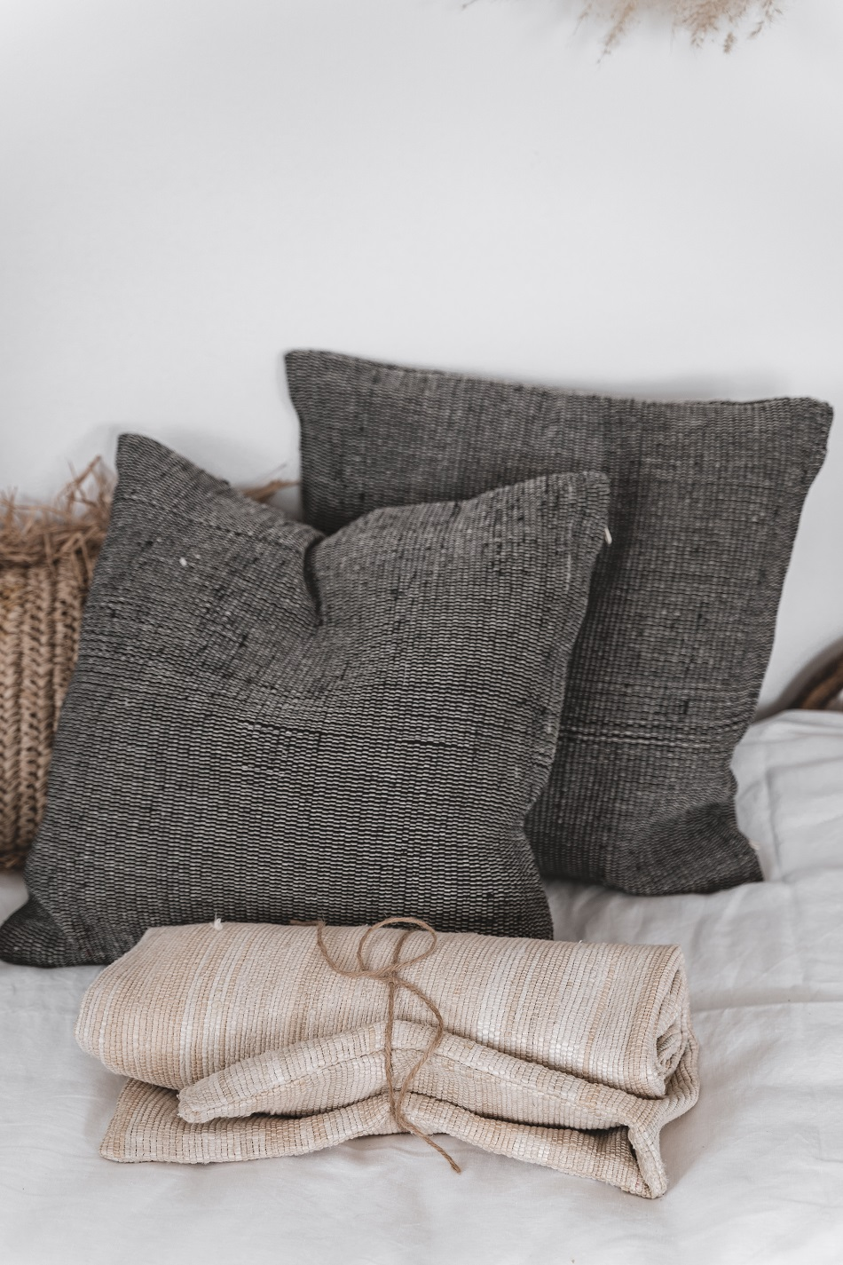 Handmade pillow in grey